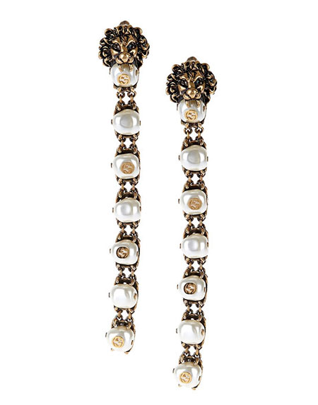 Gucci Pearl-effect embellished lion earrings