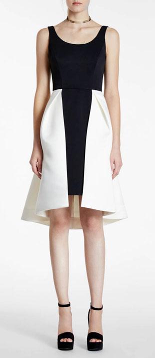 Halston Heritage Sleeveless Two-Tone Dress