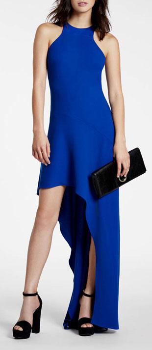 Halston Heritage Sleeveless Jewel-Neck High-Low Gown