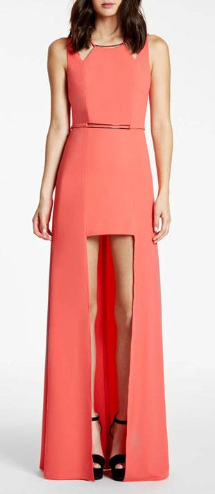 Halston Heritage Sleeveless Split-Skirt Gown