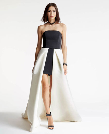 Halston Heritage Strapless High-Low Ball Gown