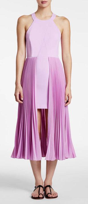 Halston Heritage Sleeveless Round-Neck Plisse Dress