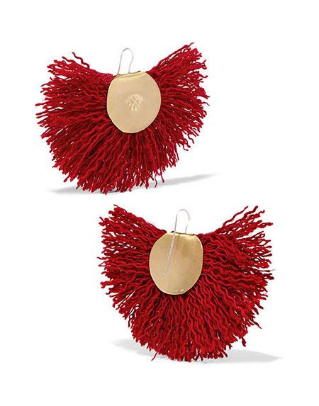 KATERINA MAKRIYIANNI Hand Fan gold-tone wool earrings