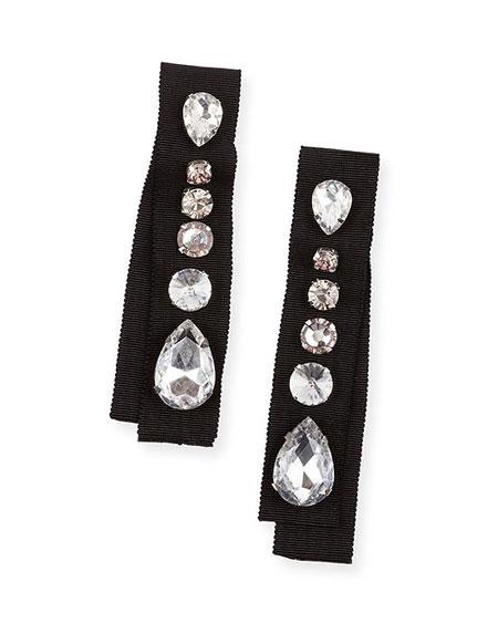 Lanvin Crystal-Embellished Grosgrain Clip-On Earrings