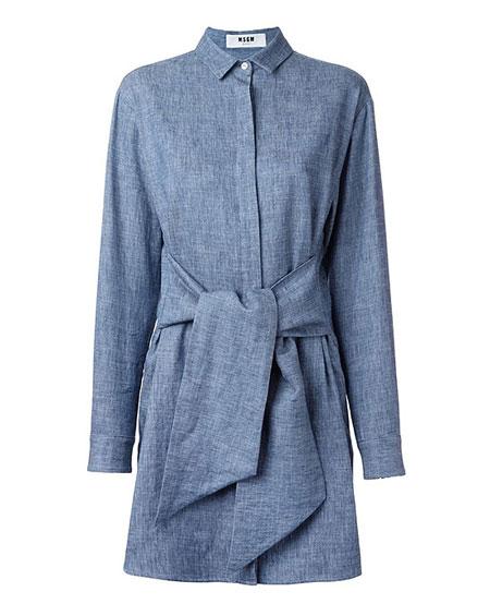 MSGM Belted Denim Shirt Dress