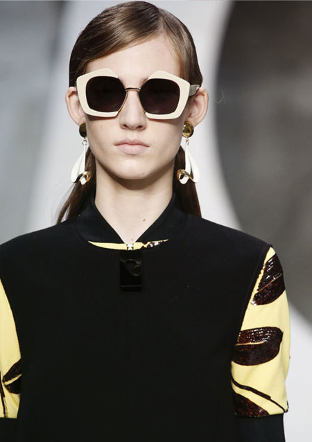 MARNI Enameled gold-plated clip earrings