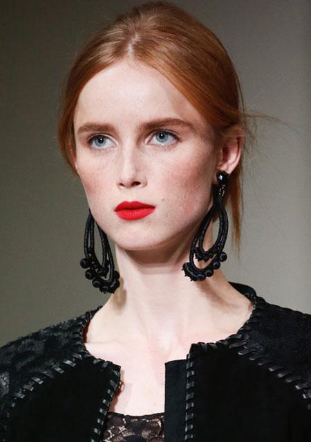 Oscar de la Renta Beaded Teardrop Clip Earrings