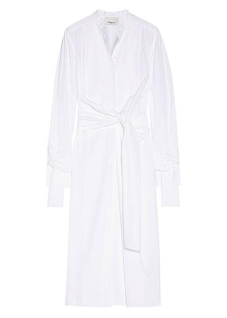3.1 Phillip Lim Long-Sleeve Cotton Twist-Front Shirtdress