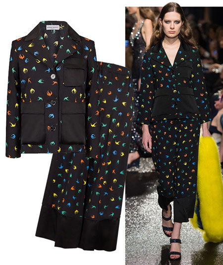 Sonia Rykiel Swallo Print Pajama Jacket and Pants