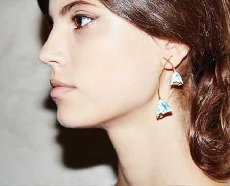 Tory Burch Flower Bud Enamel & Faux Pearl Drop Earrings