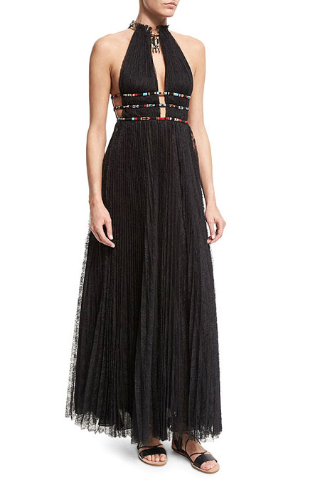 Valentino Halter-Neck Lace Maxi Dress