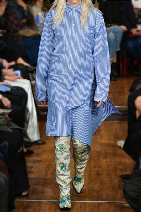 VETEMENTS Pinstriped cotton-blend poplin shirt dress