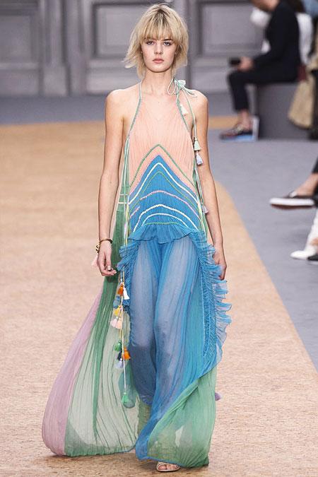Chloé Ruffled Silk Rainbow Gown