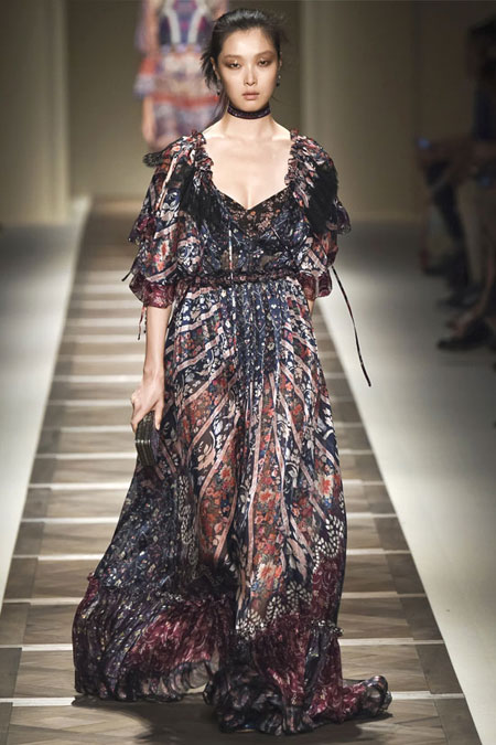 Etro Off-The-Shoulder Chiffon Dress