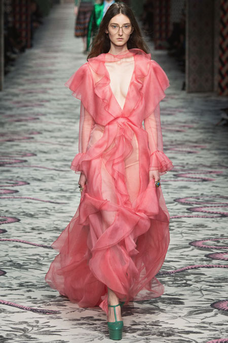 Gucci Ruffled Silk-Organza Maxi Dress