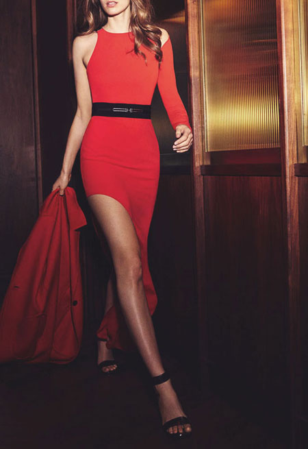 Halston red asymmetrical sleeve gown with high slit and hardware detail