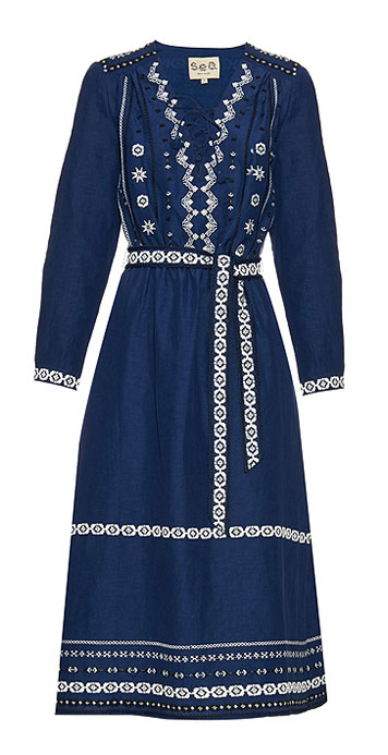 SEA Embroidered silk-blend dress