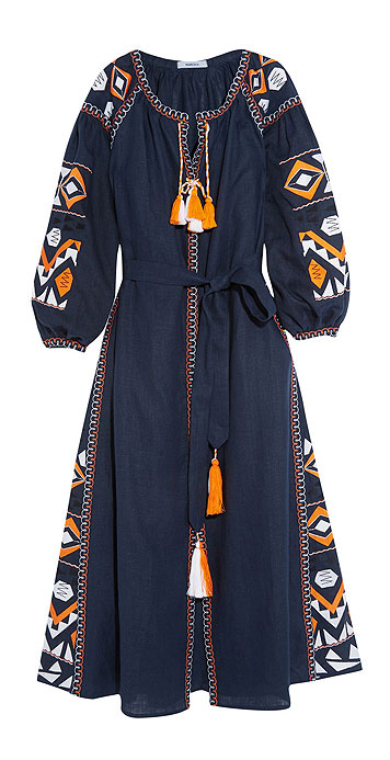 MARCH11 Kilim embroidered linen maxi dress