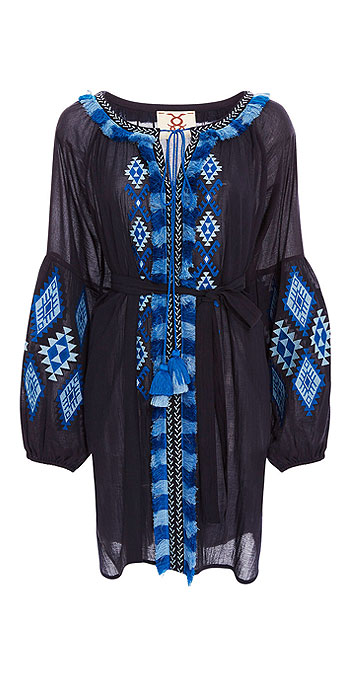 FIGUE Tula Embroidered Fringe-Trim Dress