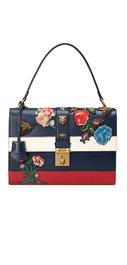 Gucci Embroidered Riche Stripe Shoulder Bag