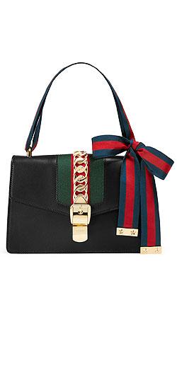 Gucci Sylvie Grosgrain-Striped Shoulder Bag
