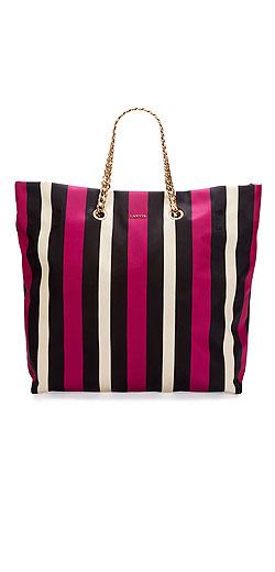 Lanvin Sugar Medium Striped Nylon Tote Bag
