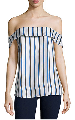 Nicholas Off-The-Shoulder Striped Silk Top