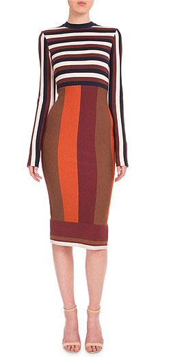 Victoria Beckham Long-Sleeve Striped Sheath Dress