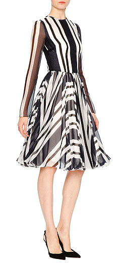 Dolce & Gabbana Nautical Striped Long-Sleeve Silk Party Dress