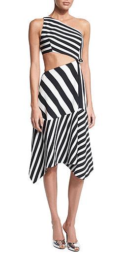MUGLER Striped asymmetric-neckline crepe gown