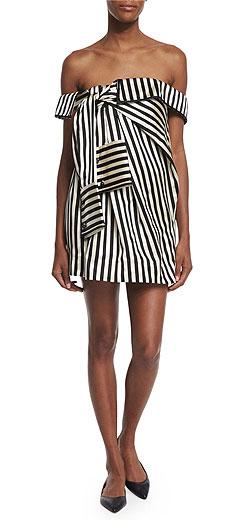 Monse Off-the-Shoulder Striped Silk Dress