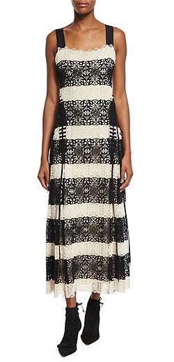 Derek Lam Lace-Stripe Dress