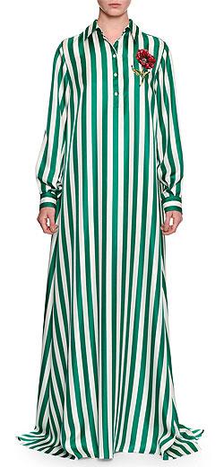 Dolce & Gabbana Long-Sleeve Striped Silk Maxi Shirtdress