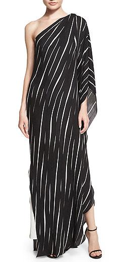 Halston Heritage One-Shoulder Draped Striped Dress