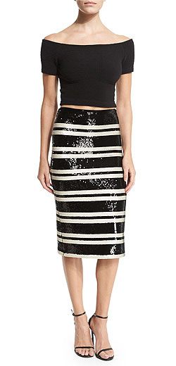 Alice + Olivia Sequined Striped Pencil Skirt