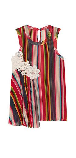 SACAI Lace-paneled pleated striped chiffon top