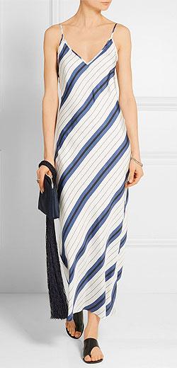 PROTAGONIST Striped silk-twill midi dress