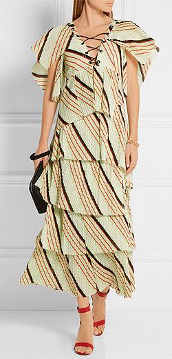 SONIA RYKIEL Tiered striped cotton maxi dress
