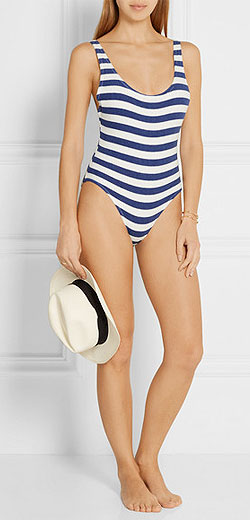 SOLID AND STRIPED The Anne-Marie striped stretch-terry swimsuit