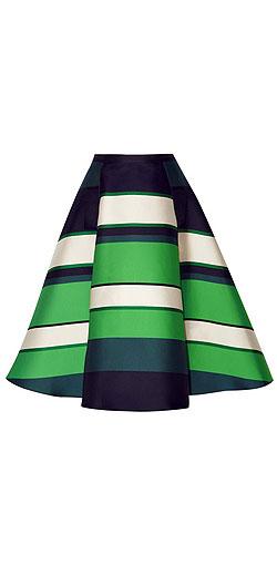 LANVIN Striped duchesse-satin midi skirt