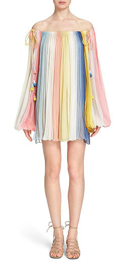 Chloé Pleated Dip Dye Off the Shoulder Dress