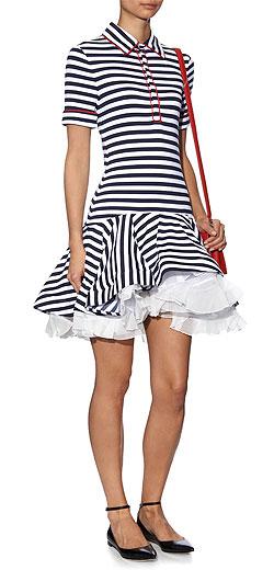 NATASHA ZINKO Breton-striped jersey ruffled dress