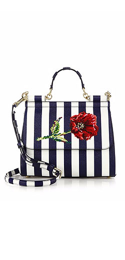Dolce & Gabbana Sicily Medium Embroidered Striped Textured Leather Top-Handle Satchel