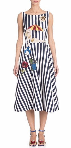 DOLCE & GABBANA Seaside-embellished striped dress