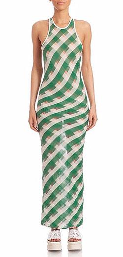 Stella McCartney One-Shoulder Transparent-Striped Long Dress
