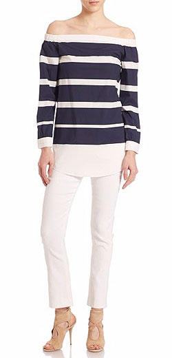 Derek Lam 10 Crosby Striped Cotton Off-The-Shoulder Top