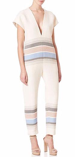 SUNO Striped V-Neck Jumpsuit