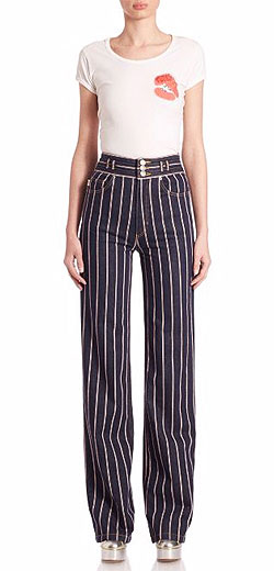 Marc Jacobs Striped High-Rise Wide-Leg Jeans