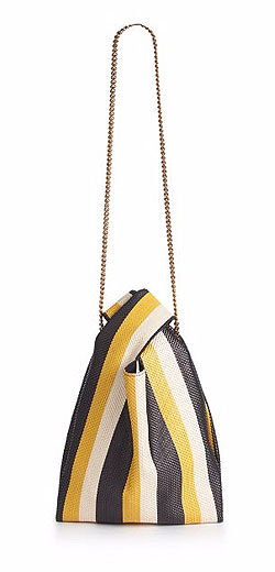 Stella McCartney Striped Woven Faux Leather Crossbody Bag