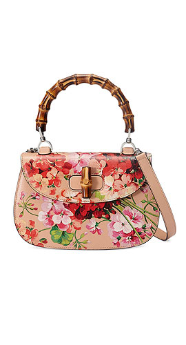 Gucci Bamboo Classic Blooms Small Top-Handle Bag